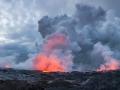 Exit lava of Kilauea volcano to the ocean